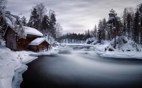 Wallpaper winter, house, river