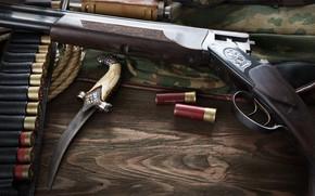 Picture wood, shotgun, knife, ammunition