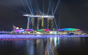 Picture lights, lights, skyscrapers, Singapore, architecture, megapolis, blue, night, fountains