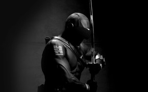 Picture dark, sword, art, ninja, hero, G.I. Joe, snake eye