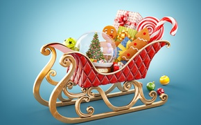 Wallpaper merry, christmas, gifts, decoration, Santa's sleigh