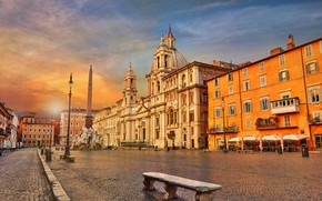 Wallpaper obelisk, Italy, Piazza Navona, Rome, bench, area, Fountain Of The Four Rivers