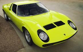 Picture Auto, Lamborghini, Retro, Green, Machine, Eyelashes, Lights, Car, Supercar, 1967, Miura, Supercar, Lamborghini Miura, Green, …