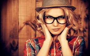 Picture background, portrait, hat, makeup, glasses, hairstyle, blonde, shirt, beauty, bokeh