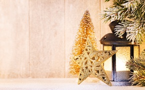Picture branches, star, New Year, Christmas, lantern, snow, merry christmas, decoration, lantern