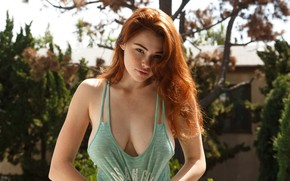 Wallpaper girl, sun, lips, look, freckles, redhaired, Sabrina Lynn