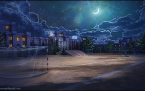 Wallpaper gate, School Ground at Night, the building, night, Playground