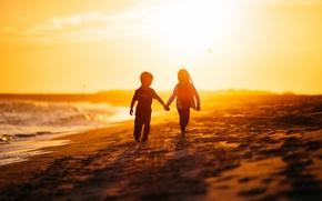 Wallpaper sea, light, life, children, future, morning