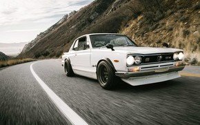 Picture Road, Mountains, Machine, Asphalt, Nissan, Nissan, Lights, Car, 2000, Skyline, Nissan Skyline, The front, 2000GT, …