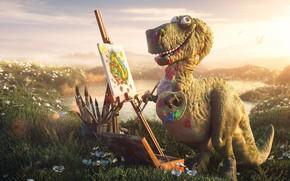 Picture mood, paint, art, artist, Rex, children's, tireks, Tyrannosaurus, dinosaur, Lightfarm Studios, plein air, Art-Rex, chumazik
