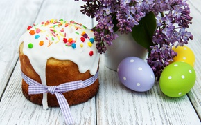 Wallpaper lilac, lilac, Easter, Easter, glaze, cakes, the painted eggs, eggs, cake, flowers, Happy, spring, flowers, ...