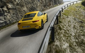 Picture road, asphalt, yellow, movement, Porsche, the fence, 2018, 911 Carrera T, 370 HP