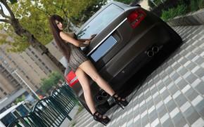 Picture auto, look, Audi, Asian, beautiful girl