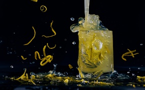 Picture drops, glass, drink, lemonade, peel