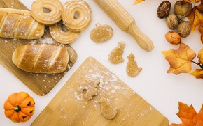 Picture autumn, leaves, cookies, bread, pumpkin, cakes, flour, rolling pin