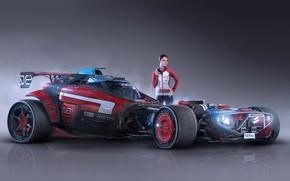 Picture girl, car, Igor Sobolevsky, Axiom Feral Racer