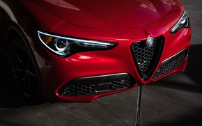 Picture lights, Alfa Romeo, front view, 2018, crossover, Stelvio, Black Edition