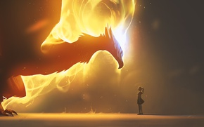 Picture fire, girl, fantasy, Dragon, wings, artwork, fantasy art, fire dragon, flames, creature, sparks