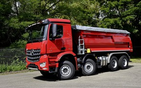 Picture red, Mercedes-Benz, dump truck, Arocs, four-axle