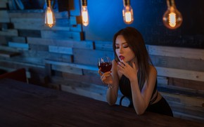 Picture sadness, face, wine, hair, glass, cutie