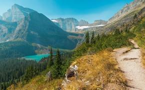 Picture Mountains, Lake, Blue lake, Landscape