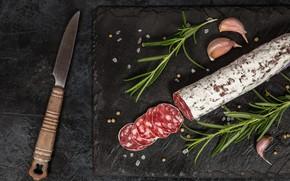 Picture cutting, seasoning, salami, sausage product