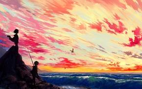 Picture sea, wave, the sky, the sun, Islands, clouds, sunset, birds, widescreen, island, anime, boy, art, ...