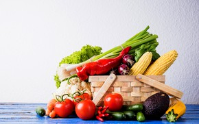 Picture greens, basket, vegetables, cuts