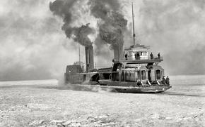 Picture retro, ship, steamer, USA, icebreaker, 1904-the year