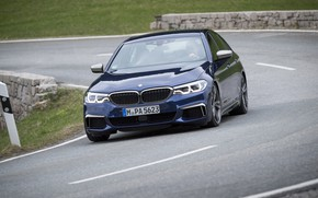 Picture road, markup, lawn, turn, BMW, the fence, sedan, roadside, 5, dark blue, 2017, 5-series, G30, …