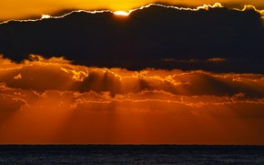 Picture sea, the sun, clouds, sunset, the evening, horizon