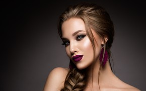 Picture look, girl, makeup, hairstyle, braid