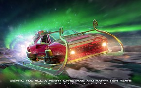 Picture holiday, gifts, car, sleigh, Merry Christmas & Happy New Year