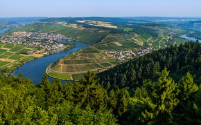 Wallpaper river, the sky, Moselle, greens, sun, home, trees, panorama, Germany, the view from the top, ...