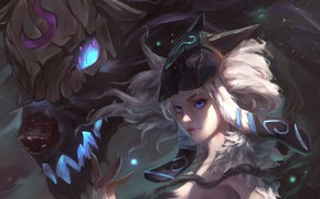 Picture girl, fantasy, game, magic, monster, art, blue eyes, painting, League of Legends, weapons, artwork, mask, …
