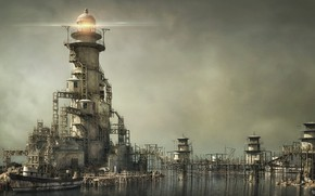 Picture boat, lighthouse, bridges, structure, SERENITY