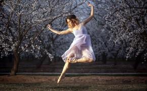 Picture girl, dance, garden