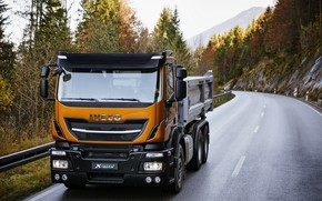 Picture road, forest, the sky, markup, the fence, body, 6x2, Board, Iveco, Stralis X-Way, Super Loader, …