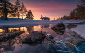 Picture snow, ice, Norway, house, Norway, Ringerike