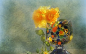 Picture flowers, style, roses, texture, vase, yellow roses