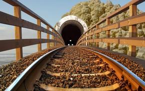 Picture lights, rock, beach, sea, binary, fence, tunnel, train, rails, Railroad