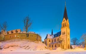 Wallpaper winter, castle, Germany, Church, Kastellaun, Rhineland-Palatinate