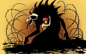 Picture girl, monster, spikes, Mahou Tsukai no Yome, The Ancient Magus' Bride, Elias Ainsworth, Hatori Chise