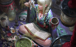 Picture girl, fantasy, legs, book, artist, blonde, artwork, mask, fantasy art, braids, kimono, magician, ritual, sorceress, …
