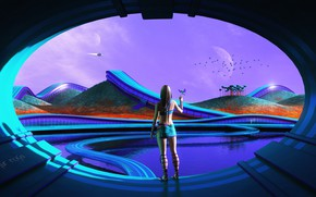Picture the sky, girl, trees, birds, hills, planet, pond, aircraft, Sci-Fi, Graphics, Artur Rosa, Futuristic Life