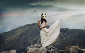 Picture girl, mountains, the situation, dress, mask, spokes