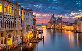 Wallpaper night, lights, home, Italy, Venice, Cathedral, channel