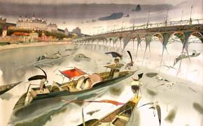 Picture boats, arch, town, ARUSHA VOZMUS, The Fourth Bridge, 2022