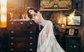 Picture girl, room, figure, dress, chest