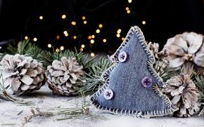 Picture decoration, holiday, new year, Christmas, herringbone, needles, bumps, bokeh, decor, hack